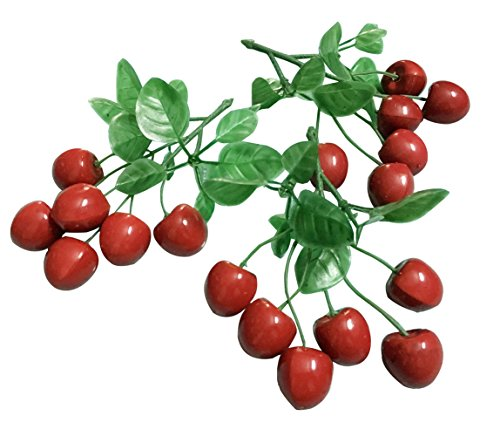 (Colorfulife Artificial Plastic Lifelike Mini 6 Fake Fruit Vegetable String Model Party Home Decoration Teaching Props Photo Child Education Fruits House Kitchen Creative Decorative (3, Red Cherry))