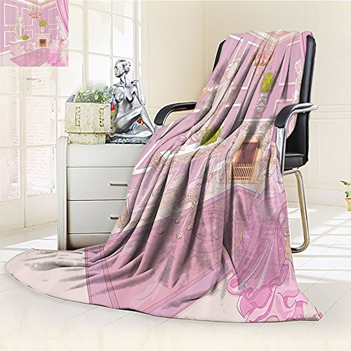 Nalohomeqq Teen Girls Custom Collection Princess Dressing Room in Palace Luxurious Design with Chandelier Fireplace Design Print Microfiber Fabric Blanket Hypoallergenic Printed Fleece Blanket Pink by Nalahomeqq