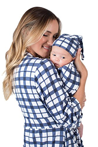 Matching Delivery Robe Swaddle Blanket Set Mom Baby (L/XL 12-18, Blue (Gingham Baby Blanket)