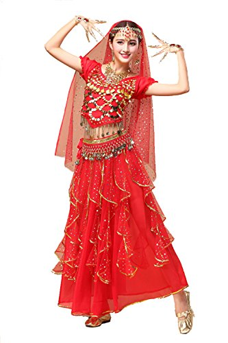 YYCRAFT Women's Halloween Costume Tops Skirt Set with Accessories Belly Dance Performance Outfit-Style -