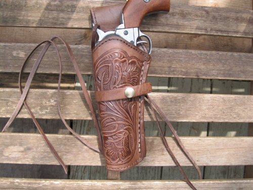 Western Gun Holster - Brown - Left Handed - for .38 Caliber single action revolver - Size 6