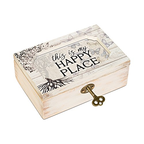 Petite Place - Cottage Garden This Is My Happy Place Tree Decoupage Petite Music Box Plays Wonderful World