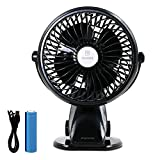 REMAX Battery Operated Fan Portable Stand Up Clip Fan for Bed Rechargeable Clip on Desk Silent Fan