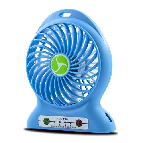 SAVFY Mini Desktop Portable Rechargeable Battery 3 Speed USB Fan Cooler with USB Charging Cable-Sky Blue