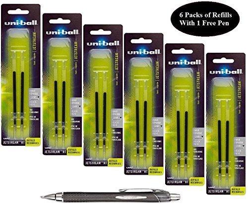Hybrid Gel Roller Pen Refill (Uni-ball Jetstream RT Retractable Roller Ball Refills, Black Ink, 1.0 Mm Bold Point, 6 Packs of Refills 73832 with Free Pen)
