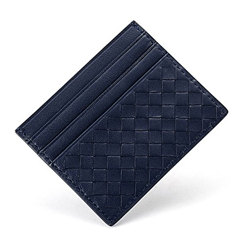 Minimalist Wallet, Boshiho Genuine Leather Credit Card Holder, Woven Lambskin 7 Card Slots Business ID Card Case (Navy Blue) ()