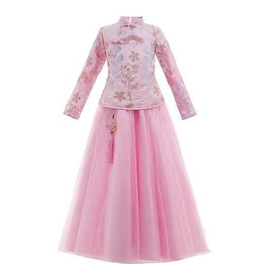 Niñas Hanfu Bordado vestido chino de la niña del estilo del ...