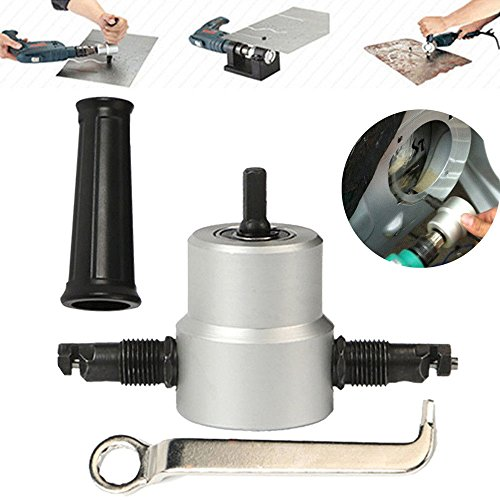 Double Head Sheet Nibbler Metal Cutter Hole Saw Drill Attachment Tool by E-BAIHUI