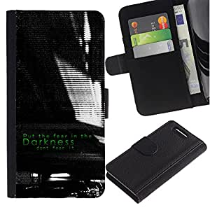KingStore / Leather Etui en cuir / Sony Xperia Z1 Compact D5503 / Oscuridad Negro Blanco Miedo Inspiring
