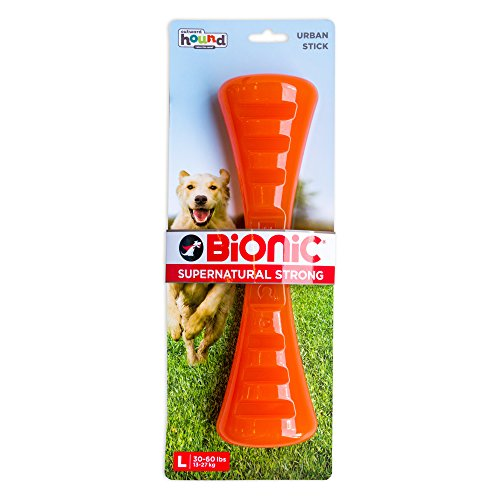 Urban Stick Durable Dog Chew Toy, Tough Dog Toy for Large Dogs by Bionic, Large, Orange (Peanut Butter Tuff)