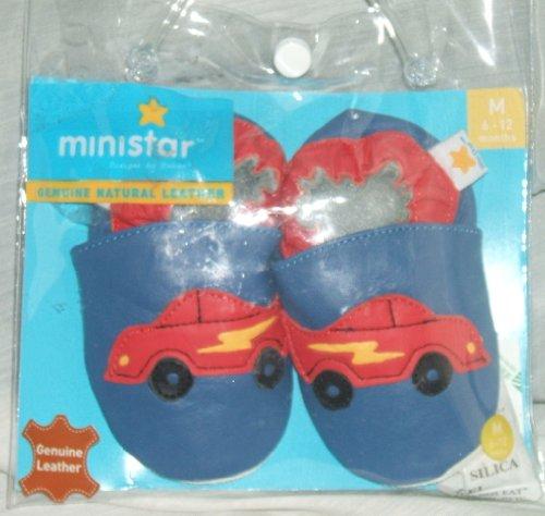 Ministar Leather Baby Shoe - Leder Baby Schuhe - blau - Motiv Dinosaurier - Gr. ca. 22 - aus USA