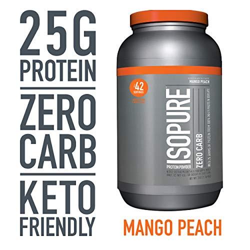 Isopure Zero Carb, Keto Friendly Protein Powder, 100% Whey Protein Isolate, Flavor: Mango Peach, 3 Pounds