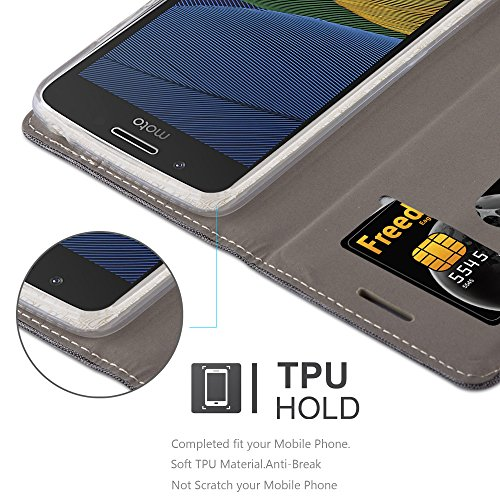 Cadorabo - Funda Estilo Book para >                                          Lenovo (Motorola) MOTO G5 PLUS                                          < de Diseño Tela / Cuero Arificial con Tarjetero, Función de Soporte y Cierre Magnético Invisible