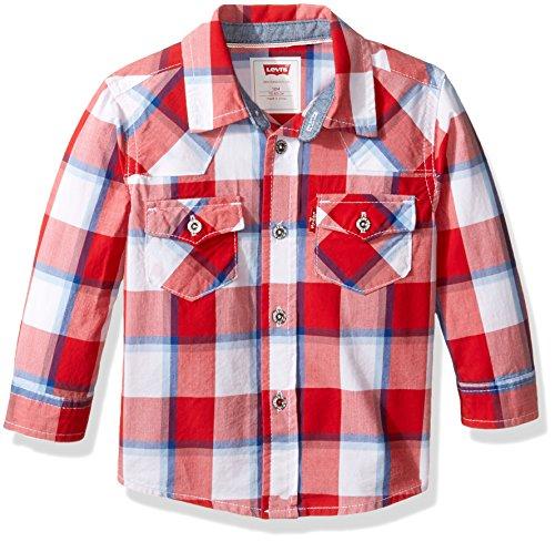 stern Button Up Shirt, Pompeian Red/Dusk Blue, 24M ()