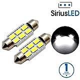 SiriusLED 2835 SMD Extremely Bright 300 Lumen LED Festoon Bulbs for Car Interior License Plate Courtesy Door Lights 36mm 6411 DE3423 1.5'' Xenon White 6000k
