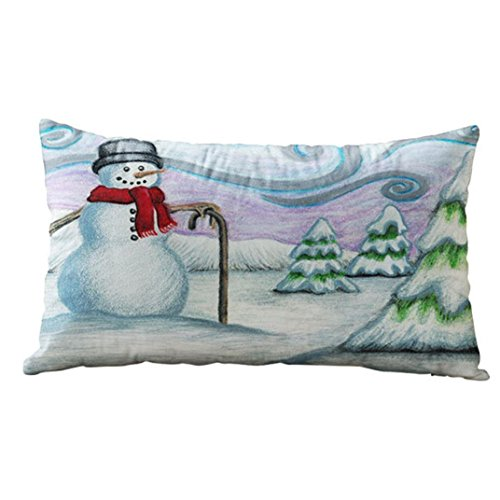 Christmas Rectangle Pillow Case, Cotton Linter Pillow Covers Printing Snowman, Snowflake, Owl and Xmas Color Sofa Cushion (30cm x 50cm, B)