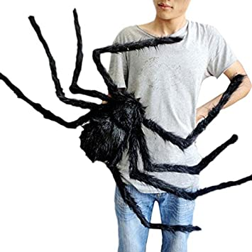 49 inch 125cm giant huge black spider decorations halloween outdoor large size realistic fake hairy