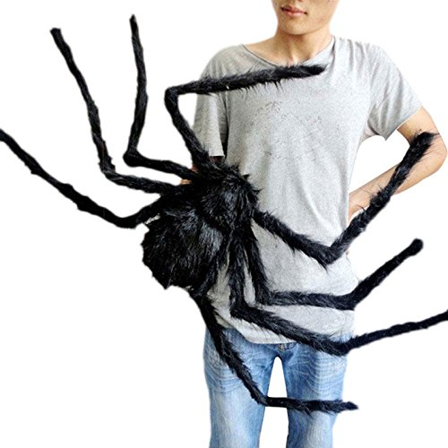 Halloween Decorations Giant Spider (59 Inch 150CM Giant Huge Black Spider Decorations, Halloween Outdoor Large Size Realistic Fake Hairy Spider Props Decor for Halloween Party, Patio Big Spiderweb Decorations)