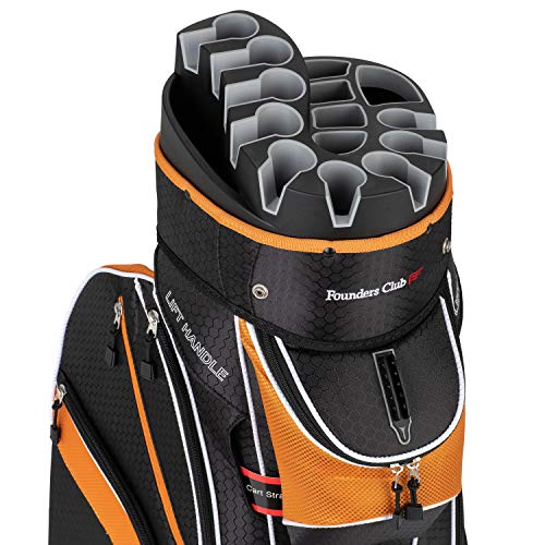 Founders Club Premium Cart Bag with 14 Way Organizer Divider Top (Orange and Black)