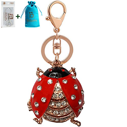 Bolbove Cute Beetle Ladybug Keychain Sparkling Keyring Rhinestones Purse Pendant Handbag Charm (Red)