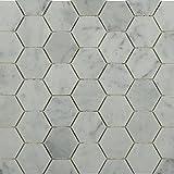 Hexagon White Carrera Marble Mosaics