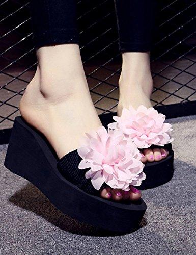 Verano pendiente de moda con muffins zapatillas Mujer de tacón alto con zapatos de tacón alto Zapatillas de playa de vacaciones ( Color : A , Tamaño : EU40/UK7/CN41 ) C