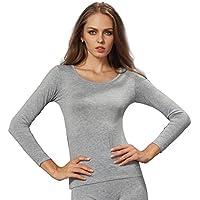 Liang Rou Women's Plain Basic Round Neck Thin Stretch Long Sleeve Top