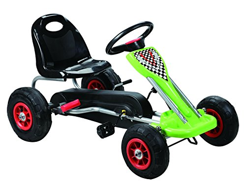 Vroom Rider Speedy Pedal Go-Kart Ride Ons with Pneumatic Tire, Green