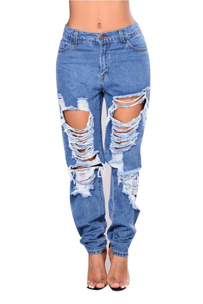 USGreatgorgeous Women Casual High Waist Destroyed Ripped Distressed Boyfriend Denim Jeans With Holes (XL, Blue)