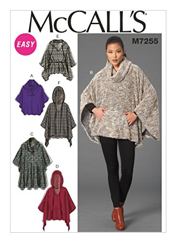 McCalls Sewing Pattern MP242 / M7255 - Misses' Cowl-Neck or Hooded Ponchos and Belt, Y(4-6-8-10-12-14) ()