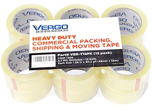 Vergo Industrial Heavy Duty Clear Packing Tape 2.7mil for Moving Packaging Shipping and Office (12 Pack) from Vergo