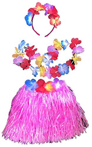 Girls Hula Costume with Skirt, Lei & Headpiece Fits Ages 2-7 -