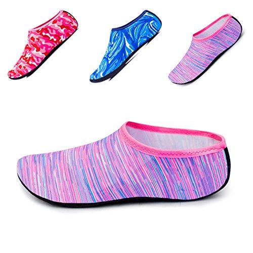 JIASUQI Kinder, Frauen und Herren Classic Barfuß Wassersport Haut Schuhe Aqua Socken für Beach Swim Surf Yoga Übung Rosa