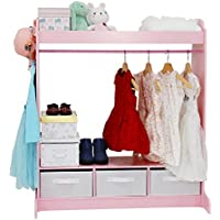 Kinbor Kid's Furniture See and Store Dress up Storage Center Closet Armoire Cabinet with Mirror, Pink
