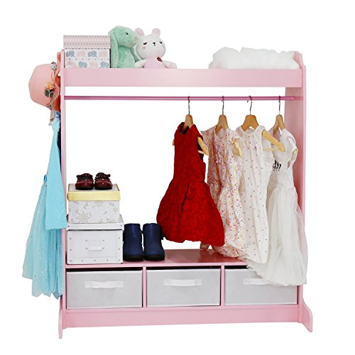 Kids Armoires (Kinbor Kid's Furniture See and Store Dress up Storage Center Closet Armoire Cabinet with Mirror, Pink)