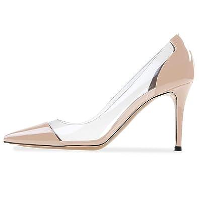 7b4a9ec451 YODEKS Women's Pointed Toe Pumps Stiletto Heels Pumps Elegant Cap-Toe  Wedding Dress Shoes Beige