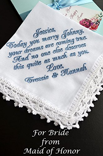 Something Blue for Bride Wedding handkerchief for Bride from Sister hanky Bridesmaid gift handkerchief Personalized bride handkerchief Custom hankie Wedding hankies from the Maid of Honor