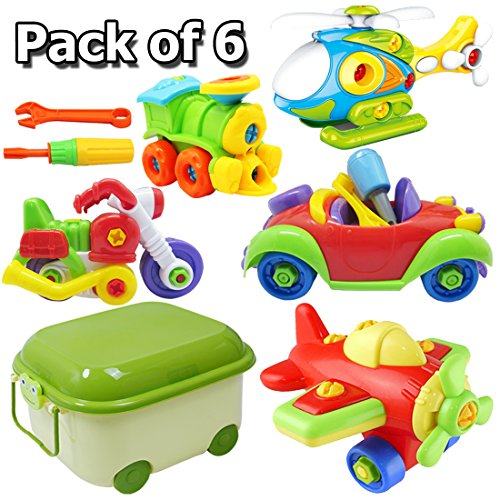Car Toy,Take Apart Toys Set,Construction Engineering STEM Learning Toy Building Playset,Vehicle Airplane Train Toy,Copter with Tool, Large Toy Storage Box,Gift for Boys Kids Girls Age 3-10 Years Old