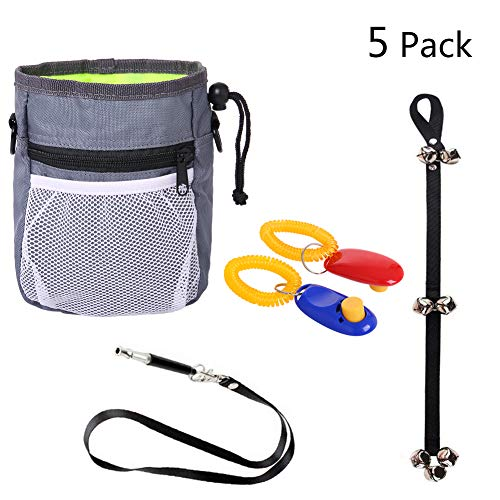 HORHIN 6PCS Dog Training Assortments Interactive Kits Retail Package, Dog Pouch Feed Treat Bag+Dog Doorbell+Dog Whistles+Dog Clickers, Luxury Suit for Beginners to Advancers (Retail Kit Package)