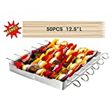 Unicook Heavy Duty Stainless Steel Barbecue Skewer Shish Kabob Set,6 Pieces Skewer Sticks and Grill Rack Set for Meat & Vegetables, No mess for Your Grill,Sturdy,Reusable,Last Longer Than Non Stick Skewers