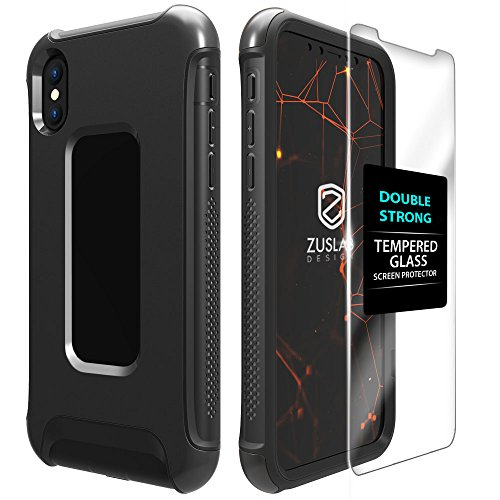 iPhone X case, ZUSLAB Armor Shield With Tempered Glass Screen Protector, Touch Sensitive Dual Layer Full Body protection Heavy Duty Shockproof Cover for Apple iPhone X (Gunmetal)
