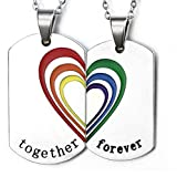 Gnzoe 2Pcs Men Women Necklace Stainless Steel LGBT Homosexual Dog Tags Chain Rainbow With Engraved