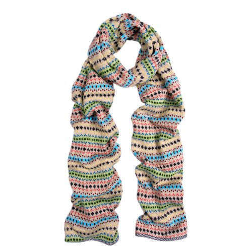 (Premium Multi Color Fair Isle Knit Long Warm Winter Scarf, v2 (bei))