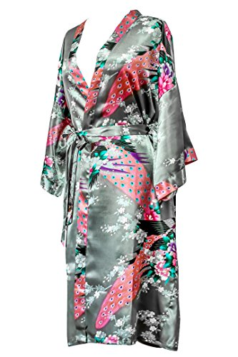 CC Collections Kimono 16 Colours Premium Version Free 1st Class UK Shipping Dressing Gown Robe Lingerie Night wear Dress Bridesmaid Hen Night (Grey) (My Girlfriend Makes Me Wear Her Clothes)
