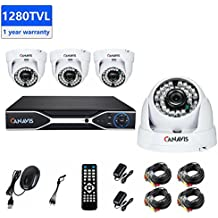 720P Wired Security Camera System 4CH CCTV Dome Camera System 1280TVL Surveillance DVR Kit with Night Vision Motion Detection Indoor (NO HD)