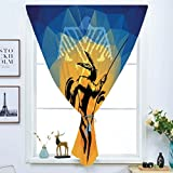 iPrint Blackout Window Curtain,Free Punching Magic Stickers Curtain,Native American,War Dance Ritual Against Ancient Totem Poly Effect Triangles Abstract,Pale Orange Blue,Paste Style,for Living Room