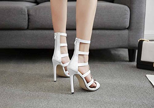 Moda A Verano Encantador Toe Blanco 2018 Alto Rayas Peep Negro Hueco Tacón Blanco Nuevo Mujer Sandalias fwYUxBz