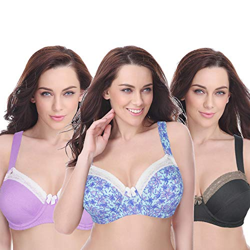 2ba4d23abf Curve Muse Women s Plus Size Underwired Unlined Balconette Cotton Bra  With-3Pack