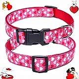 "W&Z Premium Nylon Dog Collar - Soft Adjustable Valentine' s Day Dog Collars - Best for Small Medium Large X-Large Dogs (M:11.8""-19.7"" Neck Girth, Pink Heart)"