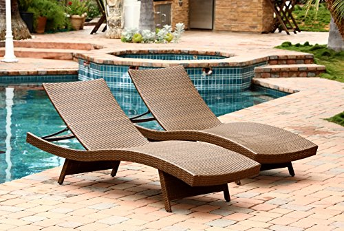 Abbyson Palermo Outdoor Adjustable Wicker Chaise Lounge, Set of 2, Brown